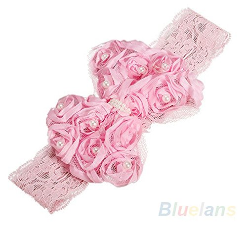 PinkXenia Newborn Infant Toddler baby girl bowknot flower pearl elastic lace pink Soft head band