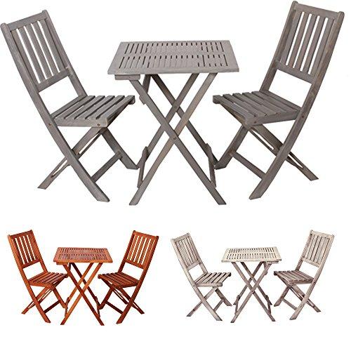 """Tavolo da giardino con sedie pieghevoli in legno """"Demeter"""" - set di mobili arredamento - arredo esterno - Set da giardino tavolo sedie - campeggio - molti colori - basso - resistente alle intemperie (Grigio Antico)"""