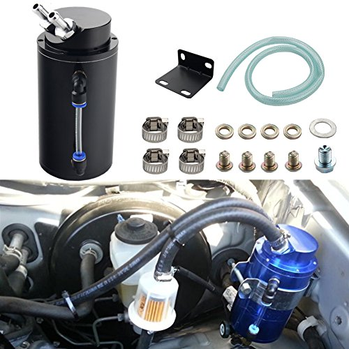 Dewhel Universal Cylindrical JDM 750ml Aluminum Engine Oil Catch Can Reservoir Tank Black Car Accessory For Dodge Honda Acura Mazda Mitsubishi Nissan Infiniti Lexus Toyota Scion Ford Chevy Subaru etc (Universal Catch Can compare prices)