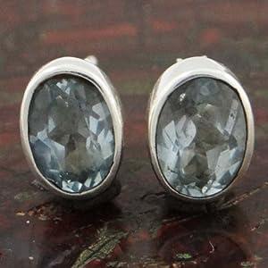 925 Sterling Silver Diamond Cut Aquamarin Stein Ethnische Ohrring -Set Modeschmuck Geschenk
