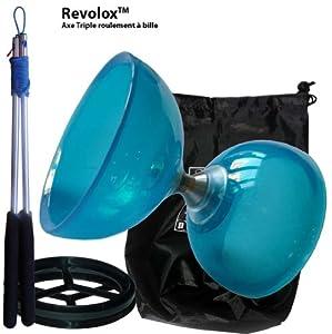 DiaboloX 110mm Bleu avec axe Revolox triple roulement haute vitesse. Vendu avec baguettes pro en aluminium équipées du ficelle Slide et son sac de rangement. Diabolo conseillé pour les plus de 8 ans.