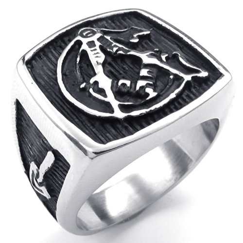 Konov Jewelry Mens Stainless Steel Ring, Vintage Freemason Masonic, Black Silver, Size 9