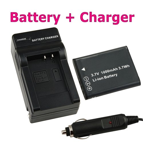 eForCity Replacement D-Li88 Li-Ion Battery + Battery Charger w/ Car Adapter for Pentax Optio H90 / P70 / P80 / W90 / WS80