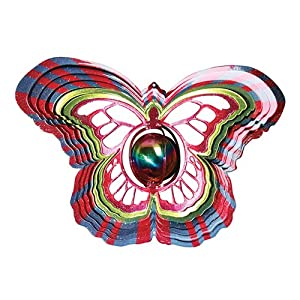 Iron Stop Gazing Ball Butterfly Wind Spinner - D1515-10