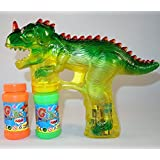 Haktoys 1900D Dinosaur Bubble Shooter Gun With LED Lights And Dinosaur Sound, 3 X AA Batteries, And Extra Bottle...