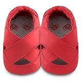ShooShoos - Zapatitos de piel suela blanda, bailarina roja, talla m (6 a 12 meses)