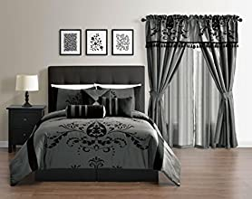 Leta Collection 7-Piece Lightweight Comforter Set, Queen, Grey