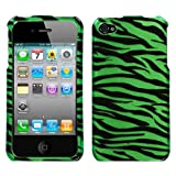 Premium Neon Green and Black Zebra Skin Design Hard Cover Crystal Case for Apple iPhone 4 / iPhone 4th Generation [Accessory Export Packaging]