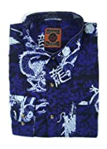 Dagacci Mens Dress Shirt - White Dragon Design - Blue XLarge
