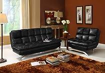 Big Sale Futon Sofa Convertible - Black Faux Leather
