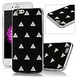 iPhone 6 /6S Funda - Lanveni Chic Elegante Carcasa Suave TPU Gel Silicona ultra Slim para iPhone 6 /6S 4.7 pulgadas Transparente Case - Patrón Triángulo Blanco Diseño (Negro)