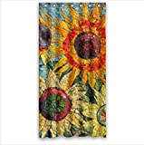 "Custom amazing sunflower mosaic art Polyester Fabric Bathroom decor Shower Curtain 36"" x 72"""