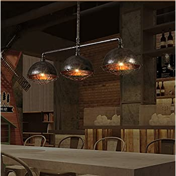 Industrial Vintage Retro Linear Pipe Designed Chandelier - LITFAD 47.24 Wide Edison Metal Hanging Ceiling Light Rustic Pendant Light Iron Cage Island Light Fixture Black Finish with 3 Lights