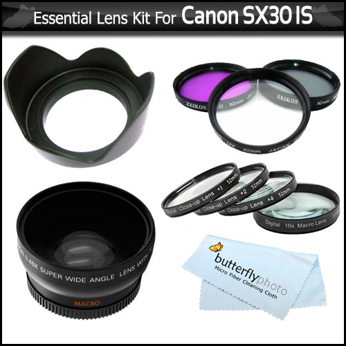 Essential Lens Kit For The Canon SX30IS SX30 IS Digital Camera Includes HD .43x Wide Angle Lens + 52MM Close Up Lens Kit Includes +1 +2 +4 +10 + 3pc High Res Filter Kit (UV-CPL-FLD) + Lens Hood + MicroFiber Cleaning Cloth