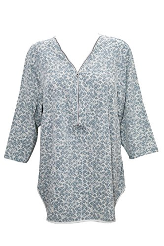 Indiatrendzs Women's Rayon Tops Grey Check Print Tunic Fullsleeves Shirt L