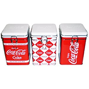 Http Amazon Com 3 Piece Coca Cola Square Tin Canisters Dp B0072860rk