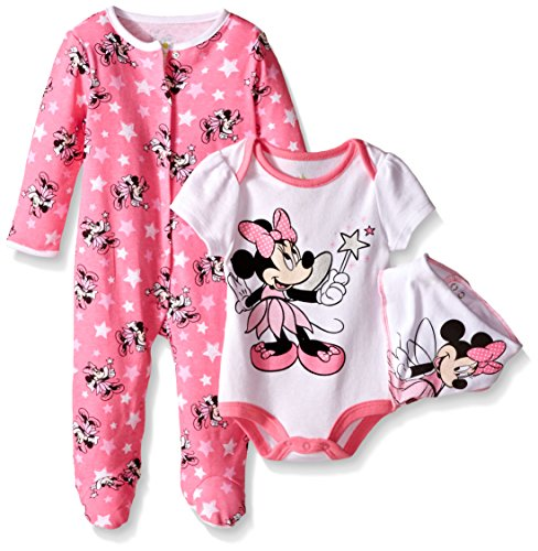 Disney Baby Minnie Mouse 3 Pc Set with Bib, Multi/Pink, 6/9 Months