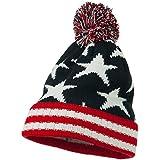American Flag Pom Knit Beanie - Navy