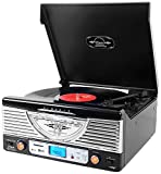 Pyle PTR8UBTBK Bluetooth Turntable System, Retro Vintage...