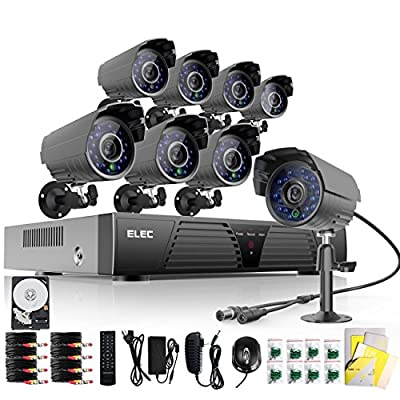 ELEC® New 8 Ch CCTV DVR HDMI Realtime CCTV Network H.264 Security Home Surveillance System With 8 IR-Cut Bullet 700TVL Outdoor Cameras ?Mobile e-cloud viewing?Multi-channel Playback, Email Alert?Motion Detection?