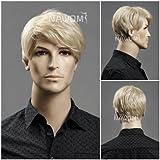 (WG-ZL11-22)Short Straight Men Wig,Golden Blonde color.