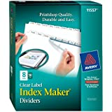 Avery Index Maker Clear Label Dividers, 8.5 x 11 Inch, 8 Tab, White Tab, 50 Sets  (11557)