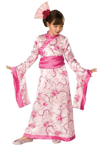 Girls Geisha Princess Kimono Costume Fancy Dress Pink Japanese Kids Child Medium