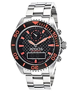 Invicta Men's 13724 Pro Diver Analog-Digital Display Swiss Quartz Silver Watch