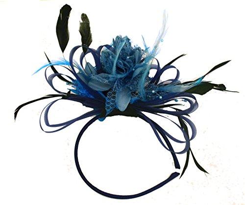 bleu-marine-et-bleu-aqua-net-creole-plume-pour-cheveux-serre-tete-mariage-royal-ascot-courses