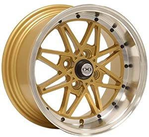 15×8 Axis Oldskool (Gold w/ Machine Polished Lip) Wheels/Rims 4×100 (OLS5804C25GLP)
