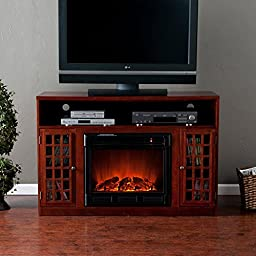 Southern Enterprises Narita Mahogany Electric Fireplace Media Console