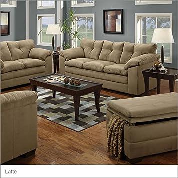 Simmons Upholstery 6565 LV Dover Microfiber Loveseat Fabric: Luna Latte