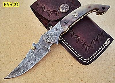 FNA-32 Custom Handmade Damascus Steel Folding Knife - Beautiful Camel Bone Handle with Damascus Steel Bolsters