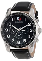 """Calibre Men's SC-4B1-04-007 """"Buffalo"""" Stainless Steel and Black Leather Watch"""