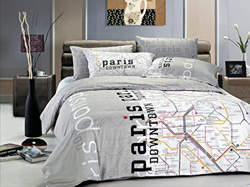 Great  Vele Dorm Room Bedding Duvet Cover Set Paris Map