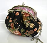 51E LIi9lLL. SL160  Black Canvas Coin Purse Elegant Black Canvas with Flowers Imprints Lady Coin Purse 2 Pockets w/Wrist Silver Chain,Convenient Handy Size at 6 Wide x 5 High, Fashion,Style and Convenient Coin Purse,Manufacturer Direct 100% Satisfaction Guaranteed.