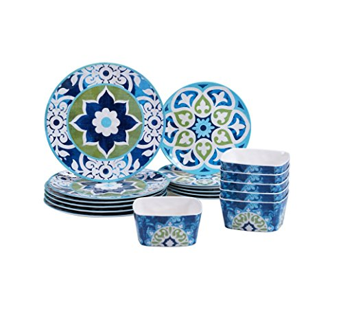 Barcelona Collection 18-piece Melamine Dinnerware Set, Beautiful Oriental Design
