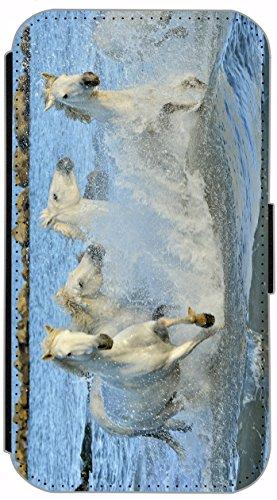 Flip Cover für Apple iPhone 6 / 6S (4,7 Zoll) Design 536 Pferd weiße Pferde im Wasser blau Hülle aus Kunst-Leder Handytasche Etui Schutzhülle Case Wallet Buchflip mit Bild (536)