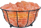 WBM Himalayan Glow Natural Air Purifying Himalayan Wide Round Style Basket salt lamp with Salt Chunks, Bulb and Dimmer control