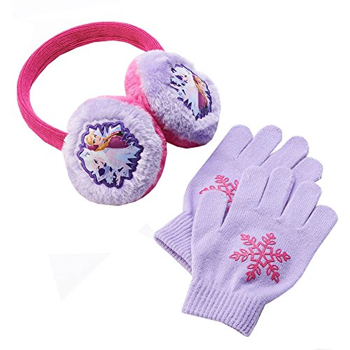 Disne Frozen Anna Elsa Earmuffs and Gloves Set Girls' One Size