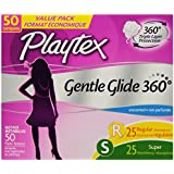 Playtex Gentle Glide Tampons Multipack, Unscented Regular/Super Absorbency, 50 Count