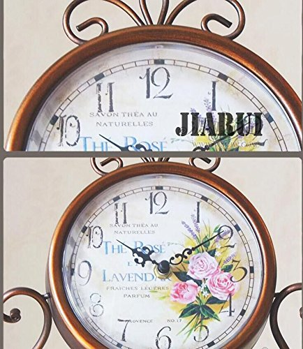 European Style Antique Retro Vintage-inspired Wrought Iron Craft Table Clock Home Decor (Rose) ¡­ 4