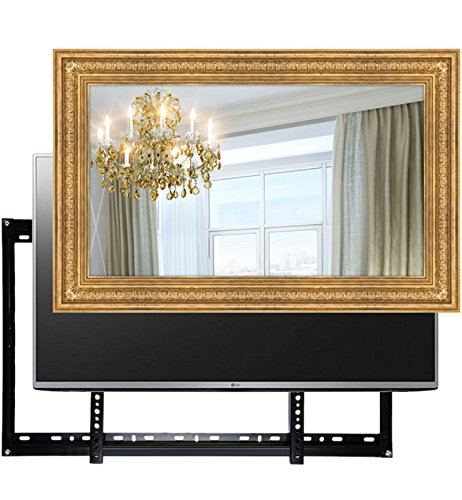 Handmade Framed Mirror TV with LG 32LH510U to Blend this Hidden Mirrored Television into Your Home or Business Decor (32 Inch, Patterna Gold)