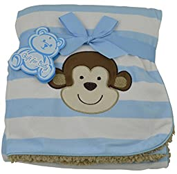 Little Mimos Baby Sherpa Blanket with Monkey Design (Blue)