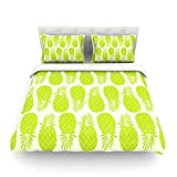 """Kess InHouse Anchobee """"Pinya Lime"""" Green Pattern Cotton Duvet Cover, 88 by 104-Inch"""