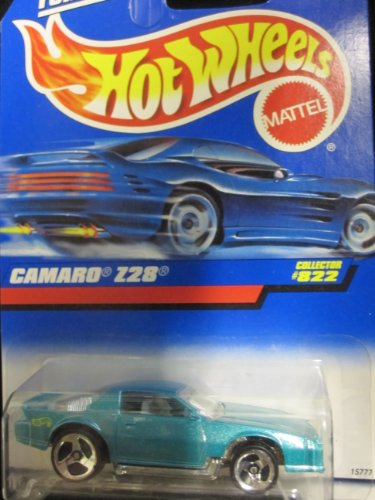 Camaro Z-28 1998 Hot Wheels #822 Mtflk. Teal w/ Three Spokes on Blue/white Card
