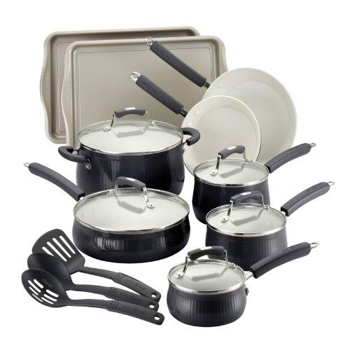 Paula Deen Savannah Collection Aluminum Nonstick 17-Piece Cookware Set, Black