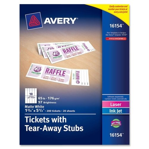 AVERY Printable Tickets,Microperf,w/stubs,1-3/4