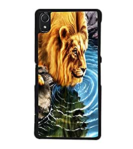 Fuson Premium 2D Back Case Cover Lion design With Multi Background Degined For Sony Xperia Z3::Sony Xperia Z3 D6653 D6603