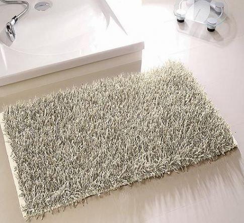 Langflor Zottel Teppich für Bad und Wohnraum 60x100 cm waschbar creme